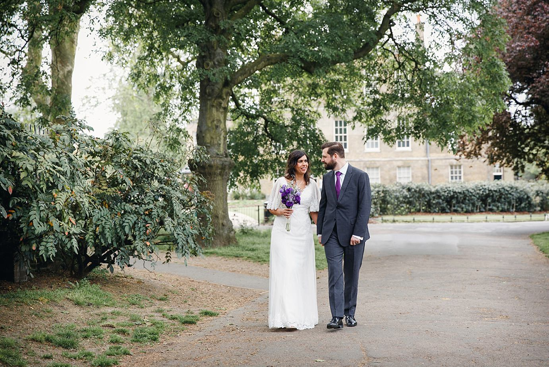 Londesborough pub wedding photography bride and groom walking