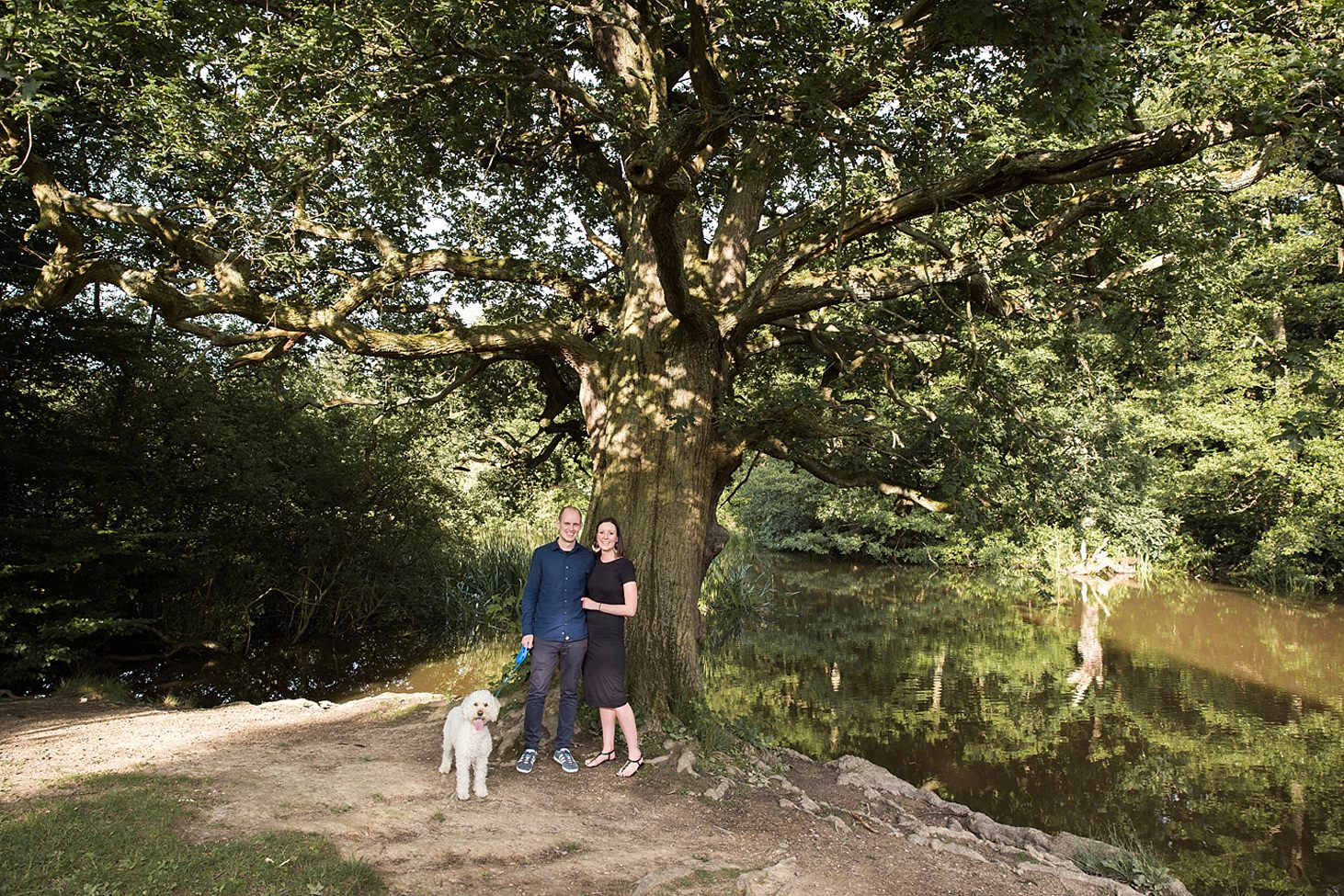 trent park engagement shoot couple with dog