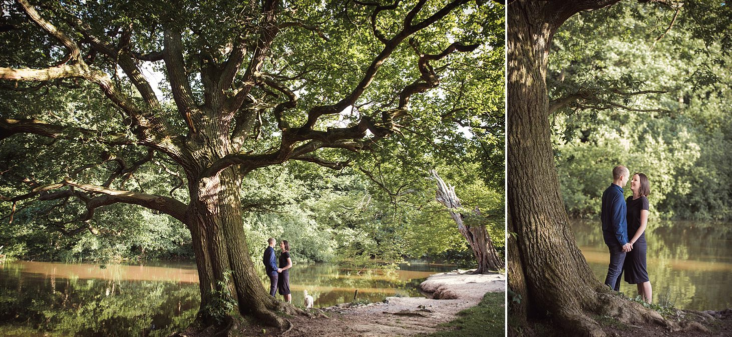 trent park engagement shoot couple by tree