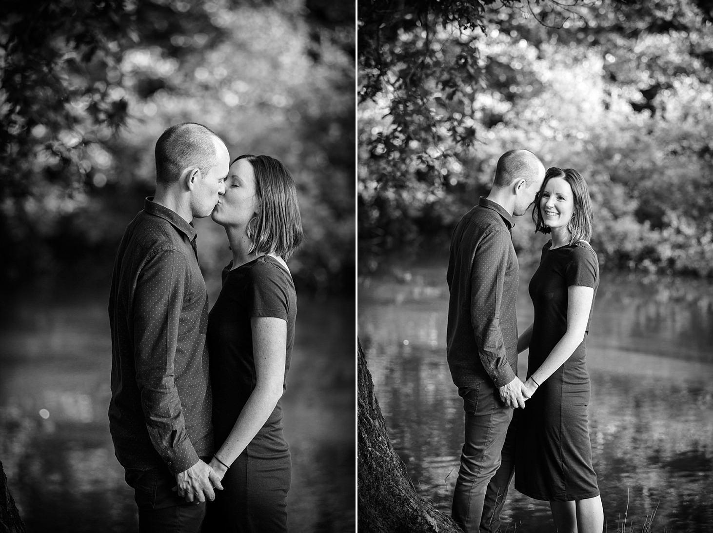 trent park engagement shoot couple kissing