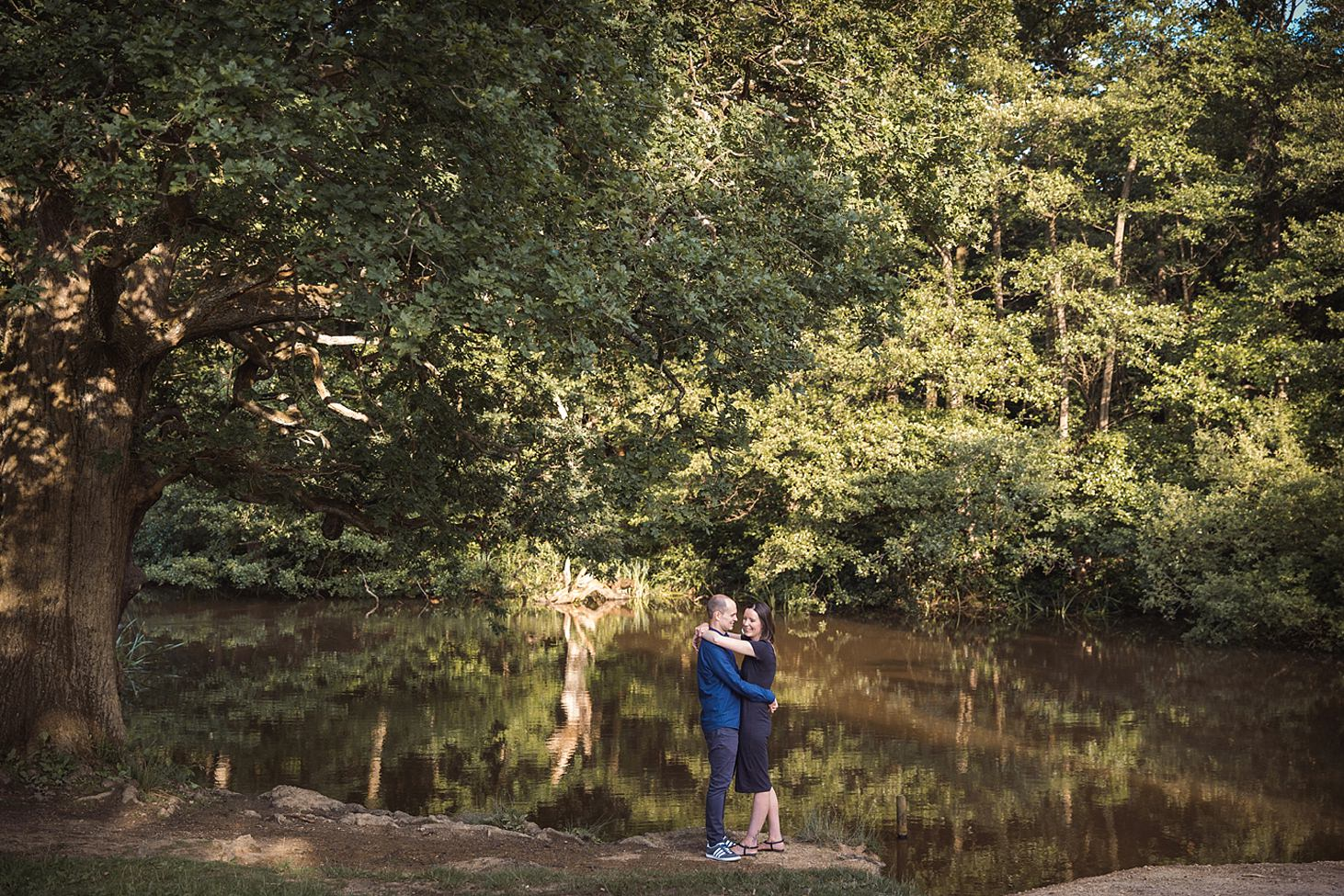 trent park engagement shoot by the lake