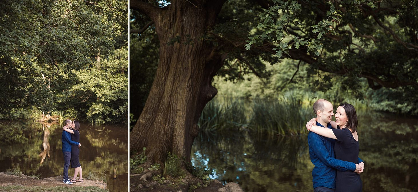 trent park engagement shoot couple by trees