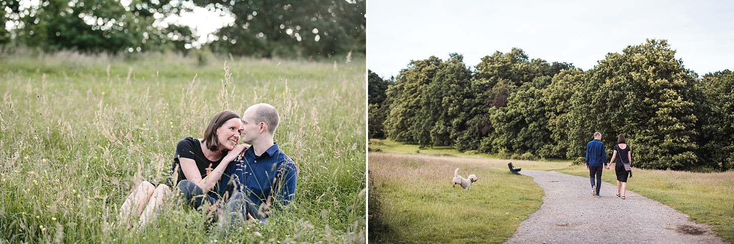 trent park engagement shoot couple in grass with dog