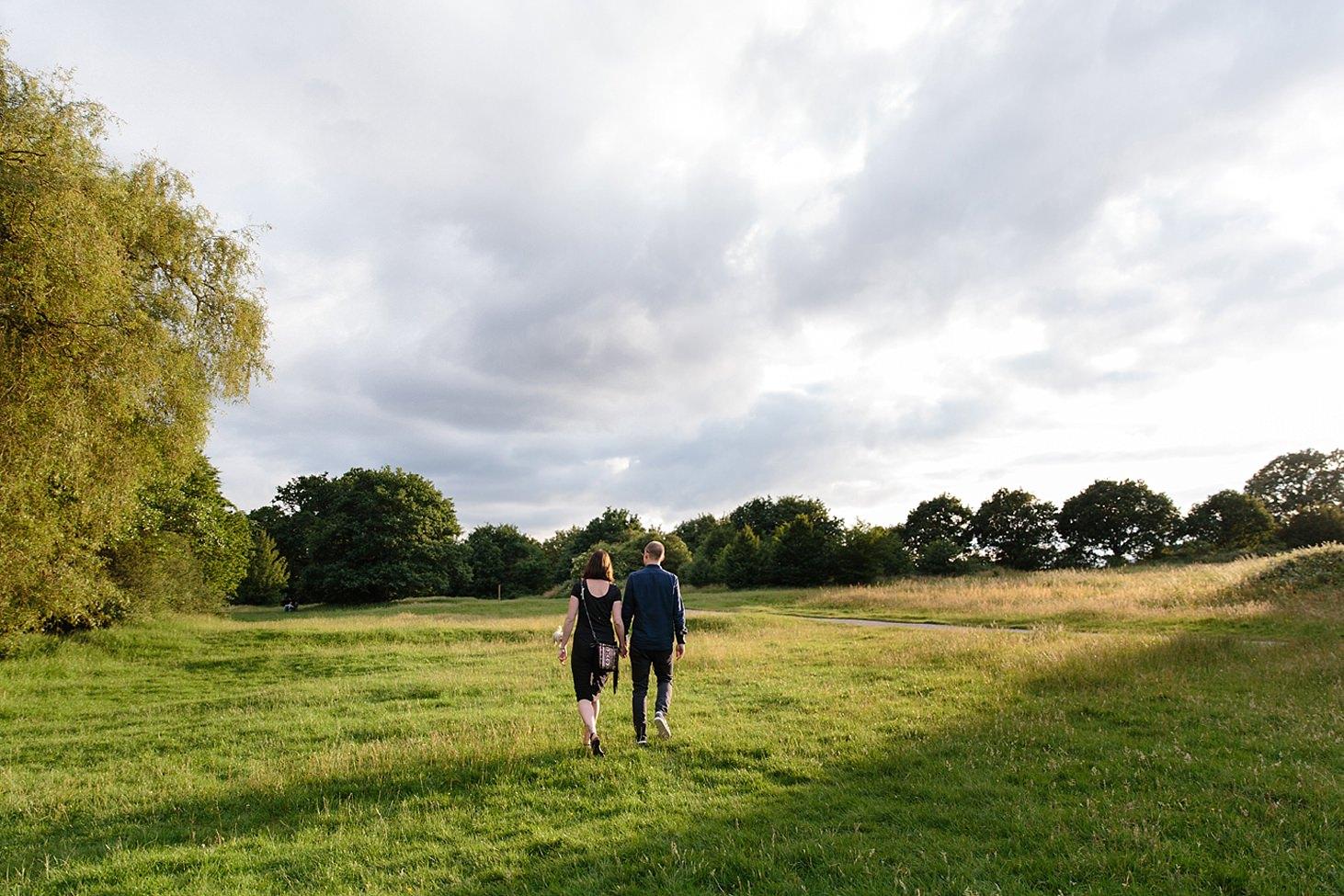 trent park engagement shoot couple walking