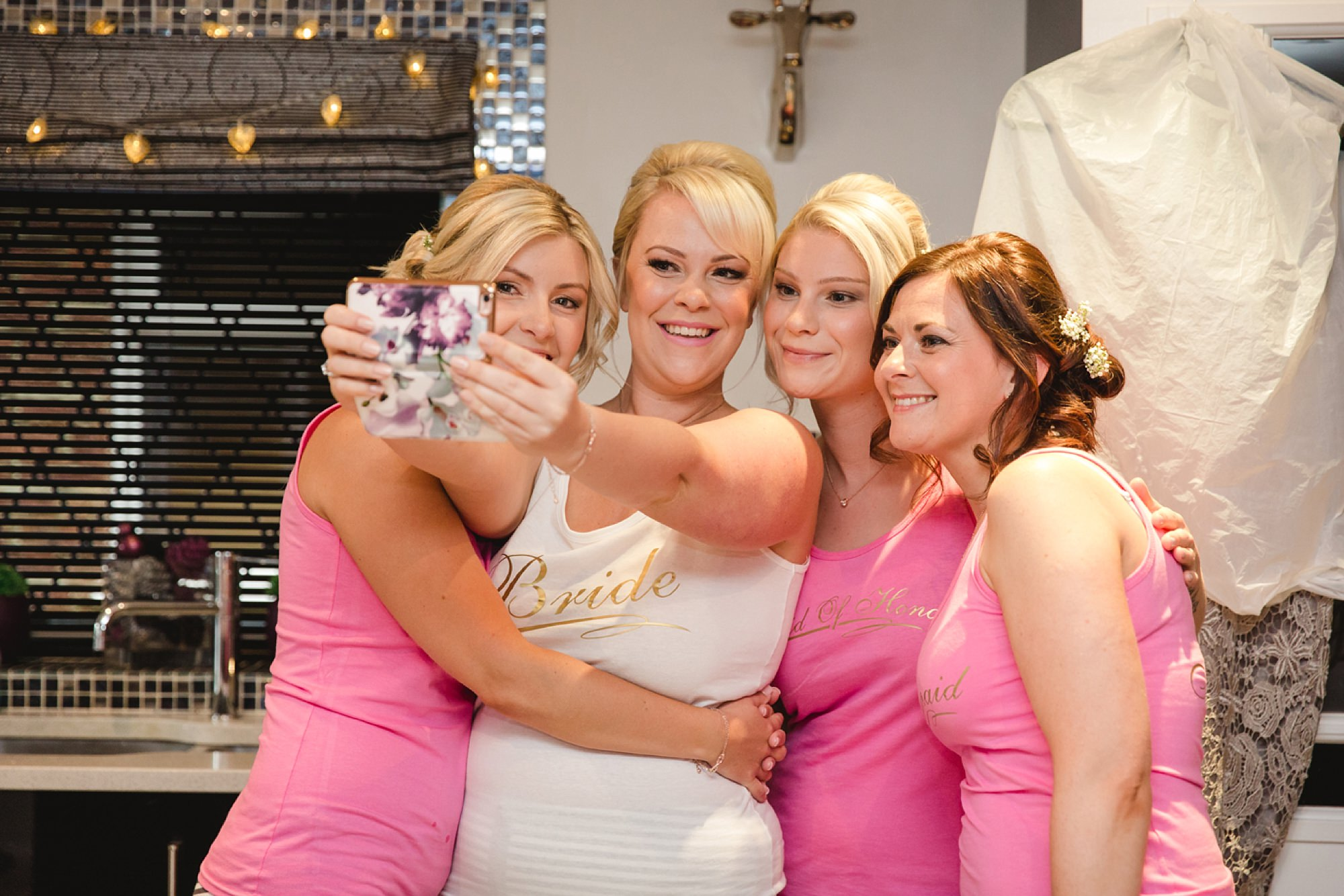 Bignor Park wedding photography bridesmaids selfie