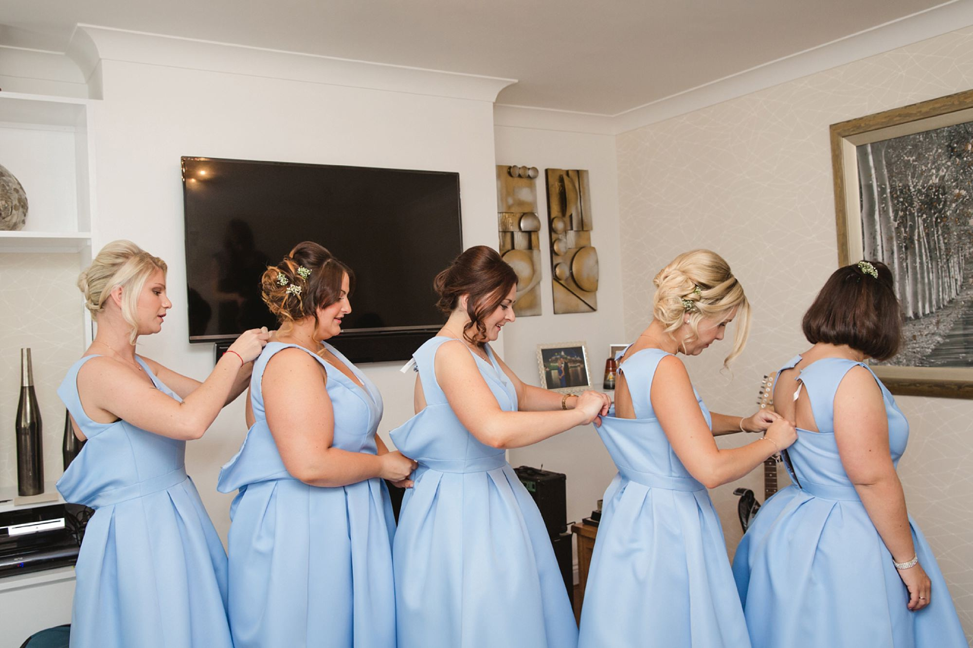 Bignor Park wedding photography bridesmaids getting ready