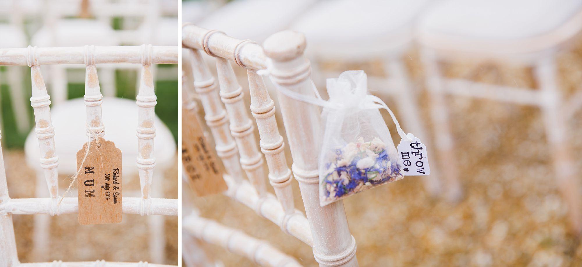 Bignor Park wedding photography chair labels