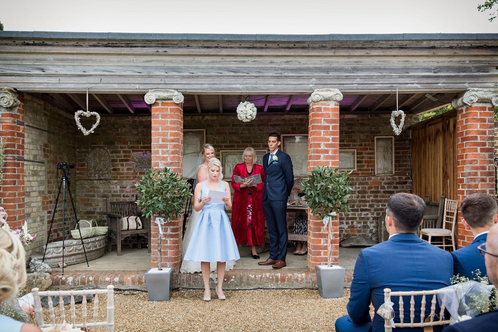 Bignor Park wedding photography ceremony reading