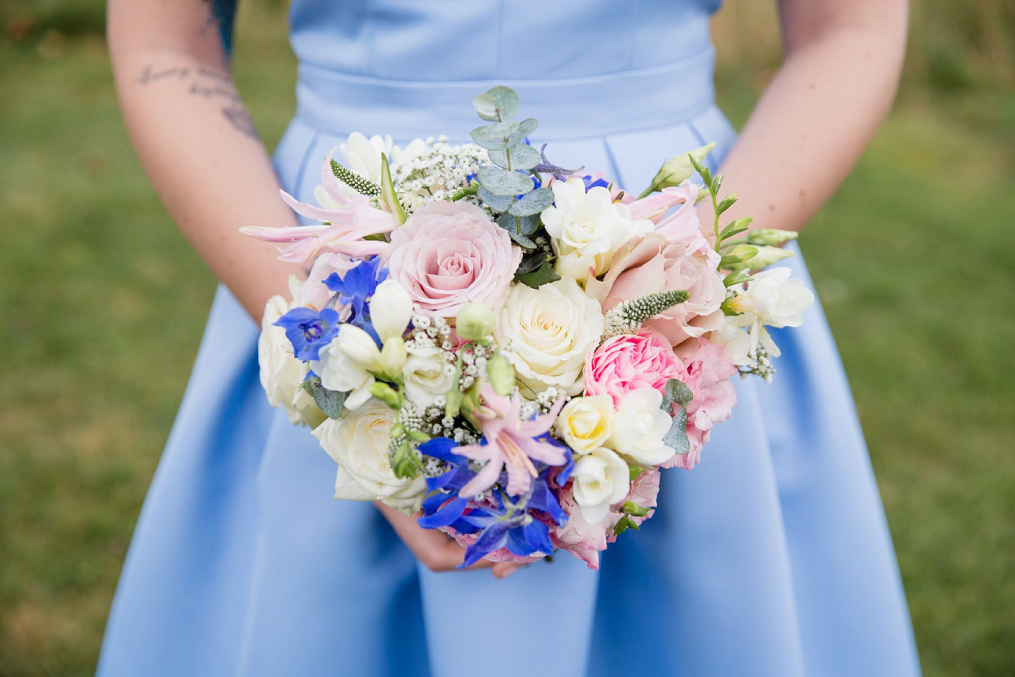 Bignor Park wedding photography bridesmaid bouquet