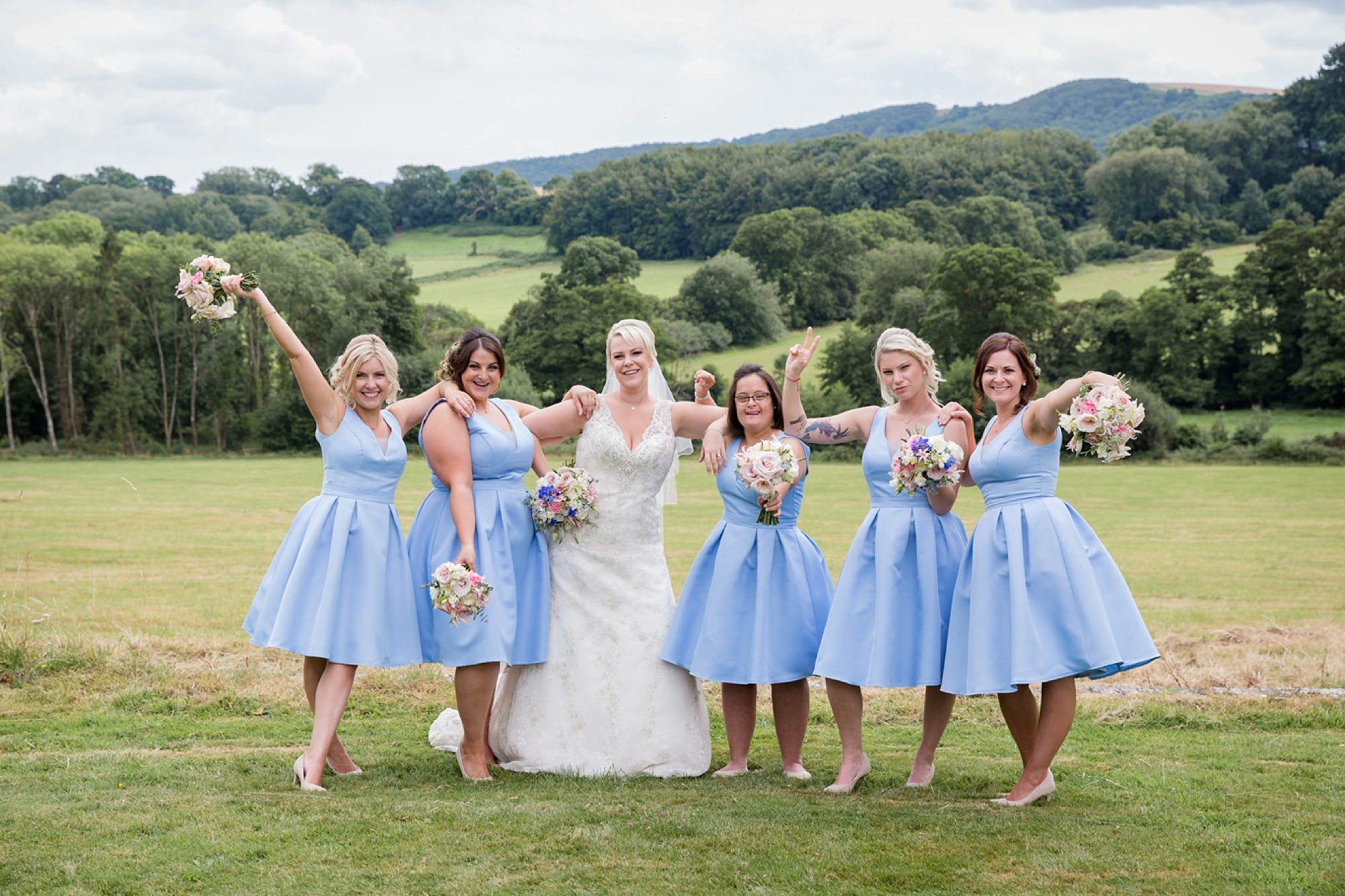 Bignor Park wedding photography fun bride and bridesmaids