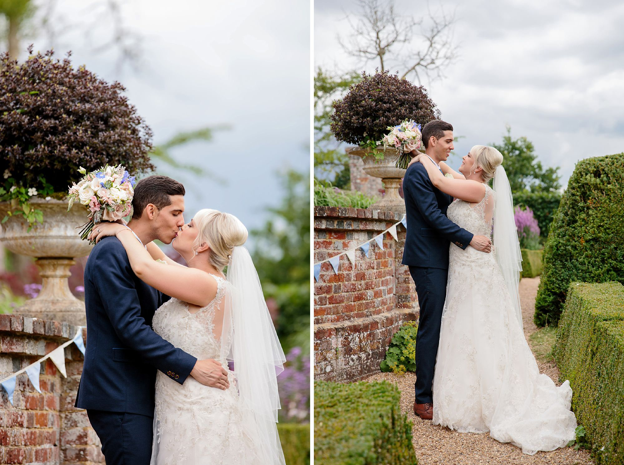 Bignor Park wedding photography bride and groom kissing