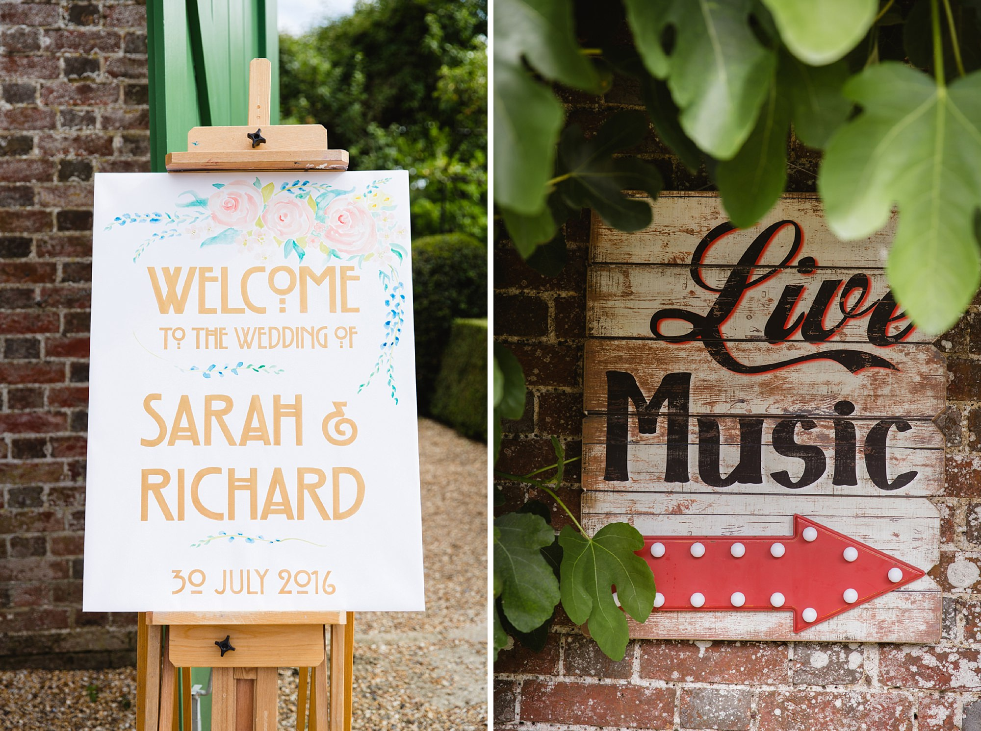 Bignor Park wedding photography venue signs