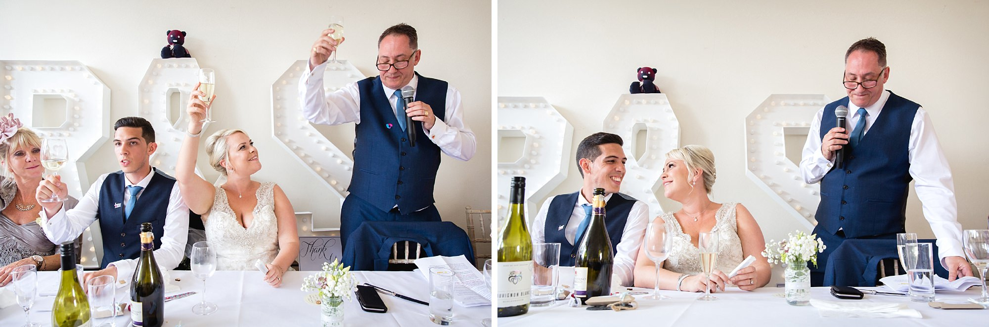 Bignor Park wedding photography bride and groom during speeches