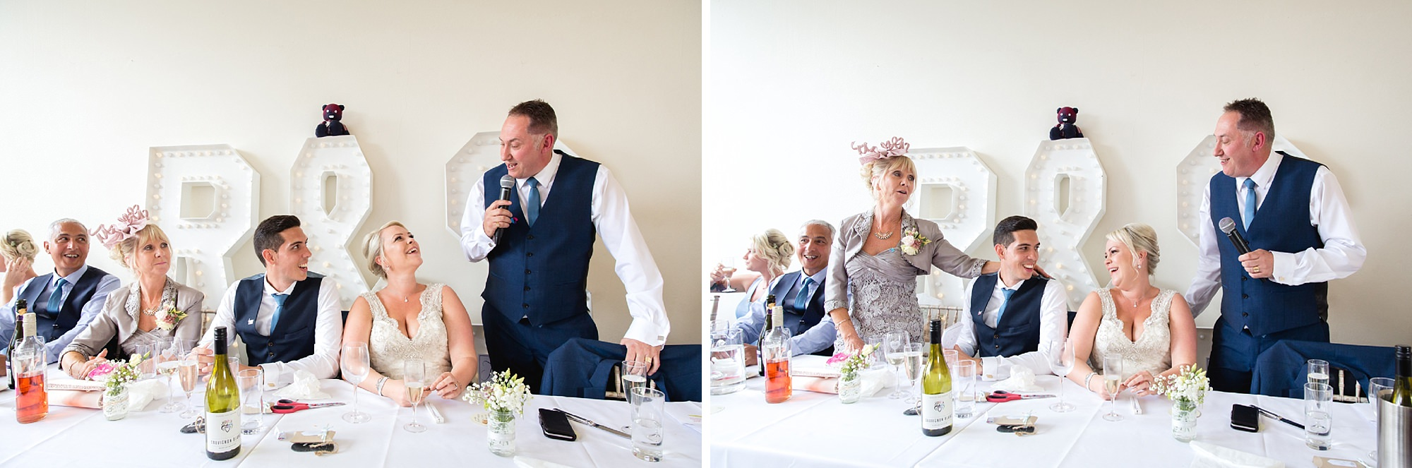 Bignor Park wedding photography singing during speeches