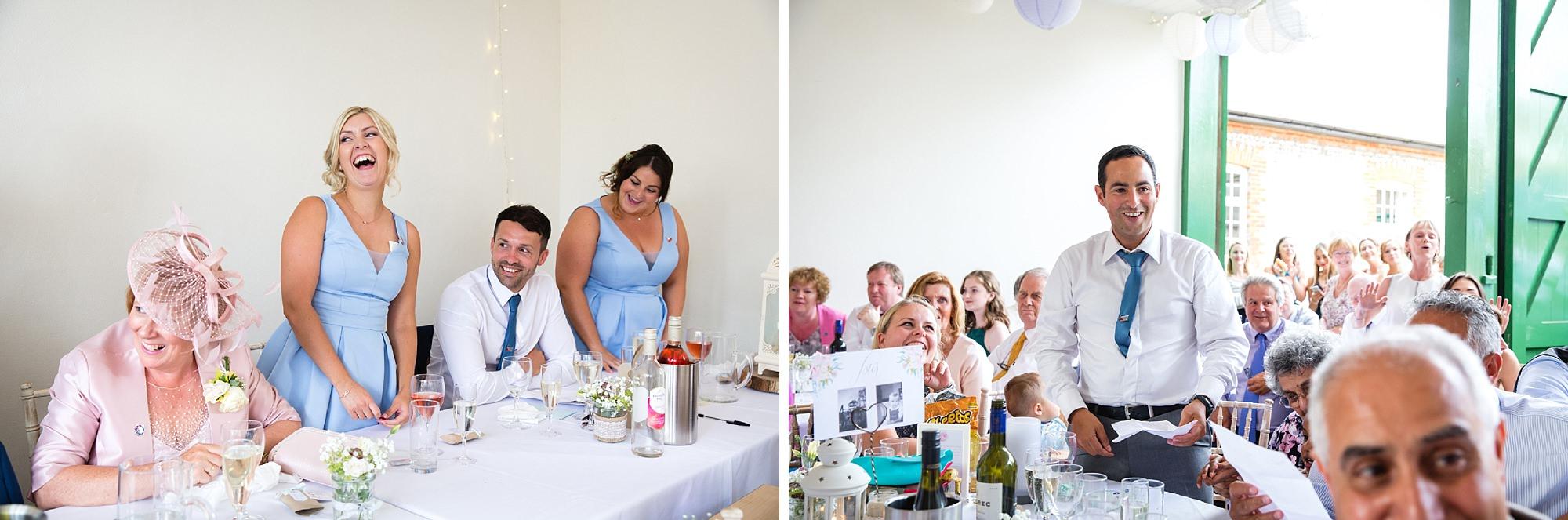 Bignor Park wedding photography bridal party singing