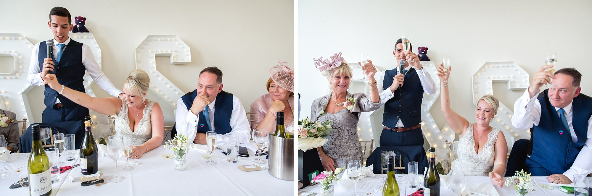 Bignor Park wedding photography family toast