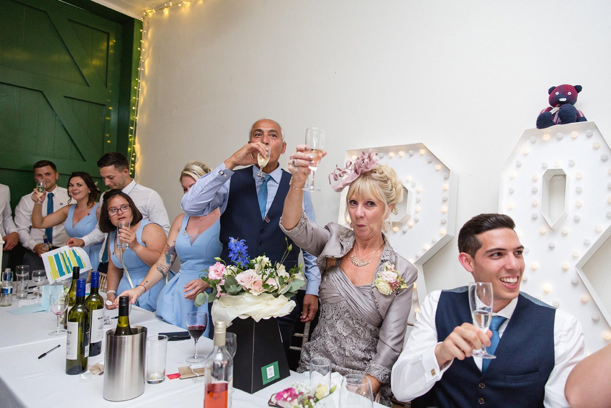 Bignor Park wedding photography final toast