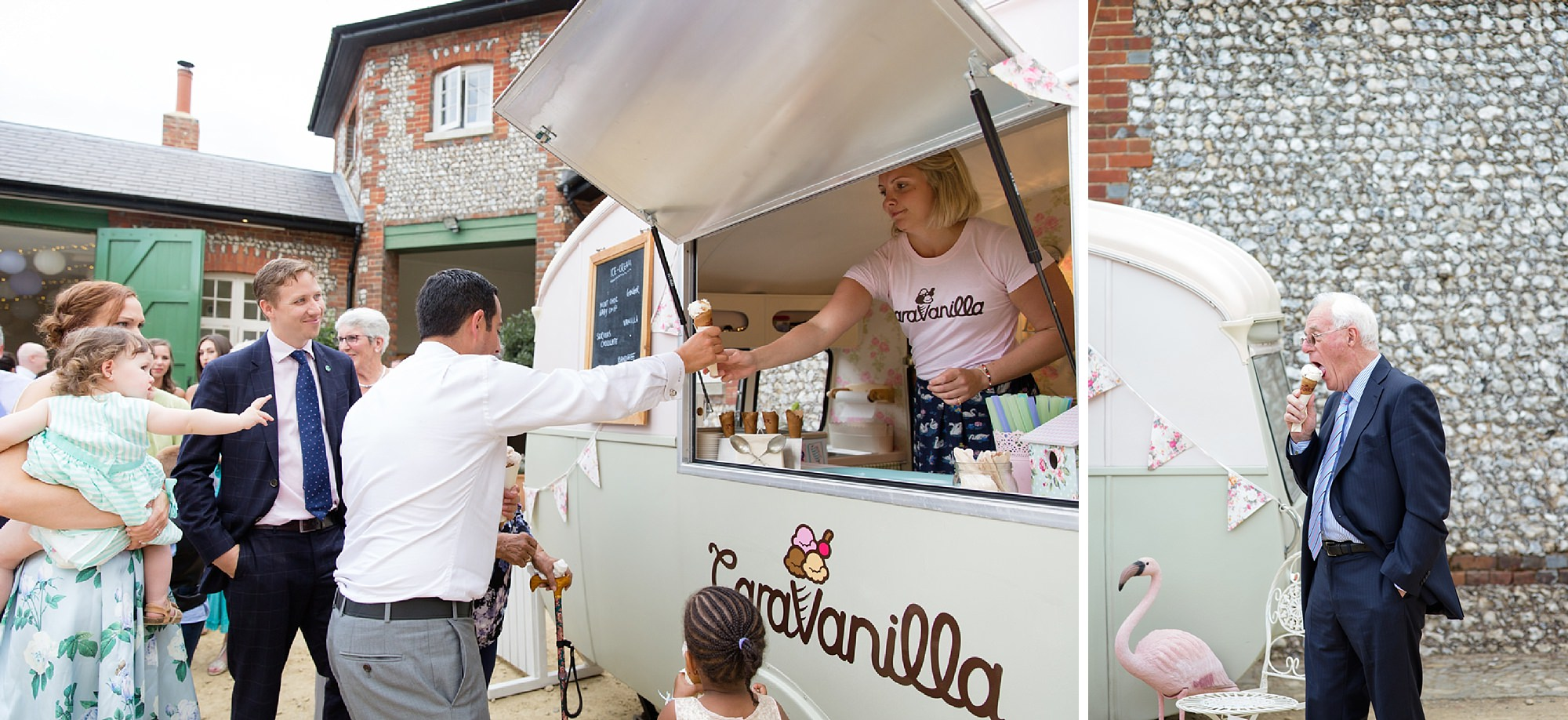Bignor Park wedding photography ice cream van