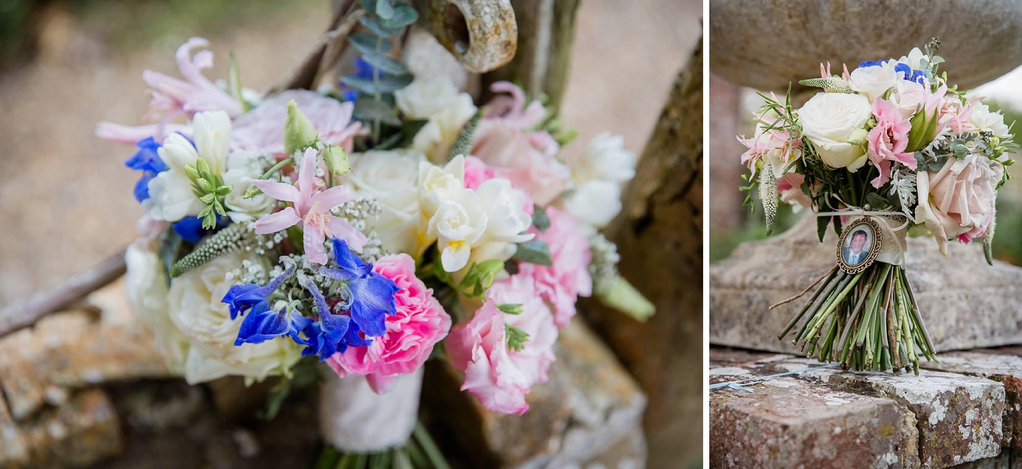 Bignor Park wedding photography detail of bouquets