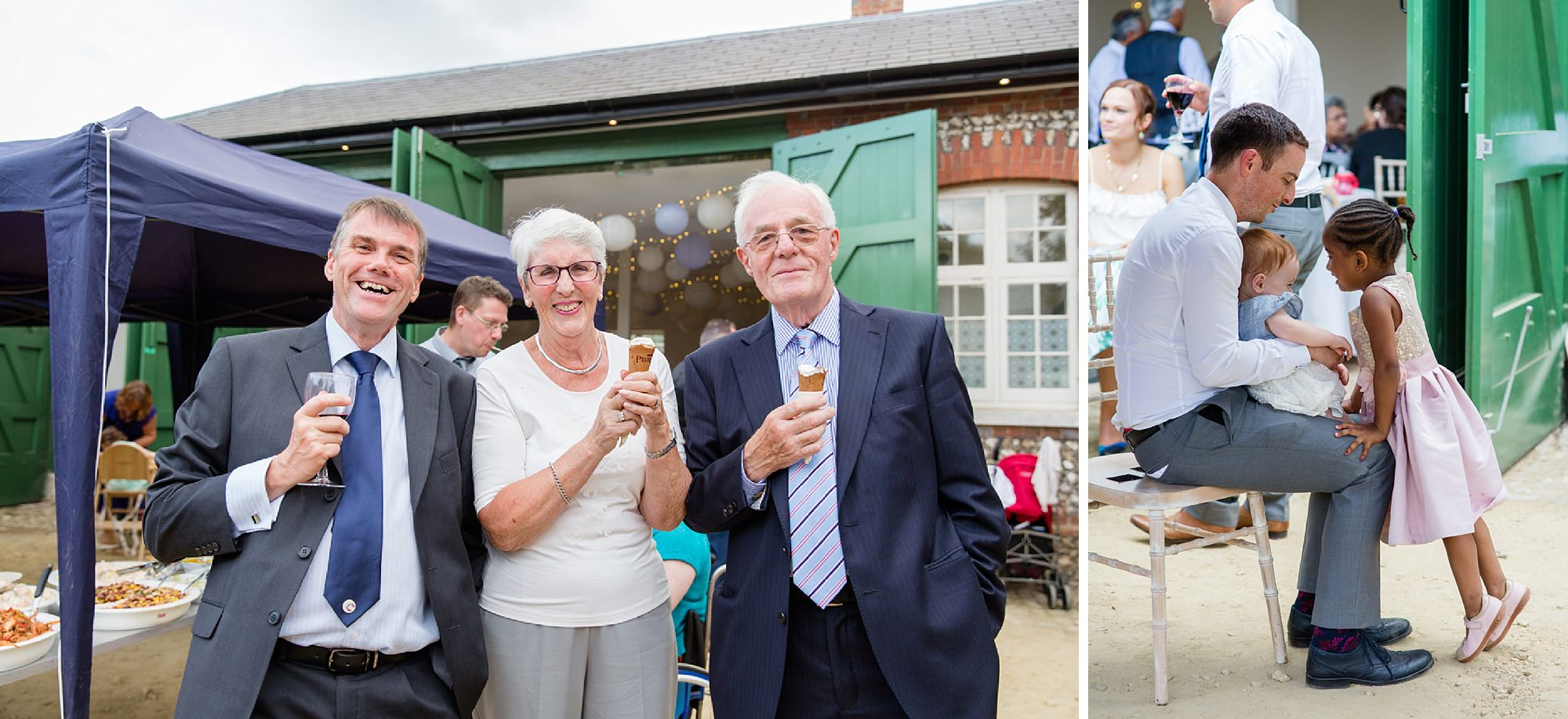 Bignor Park wedding photography guests with ice cream