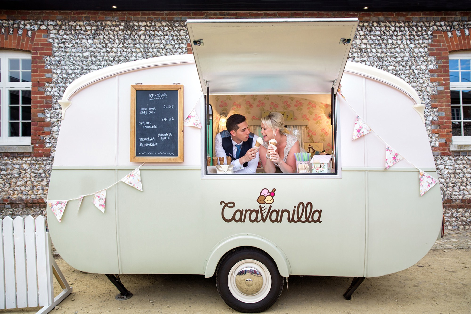 Bignor Park wedding photography bride and groom with ice cream van