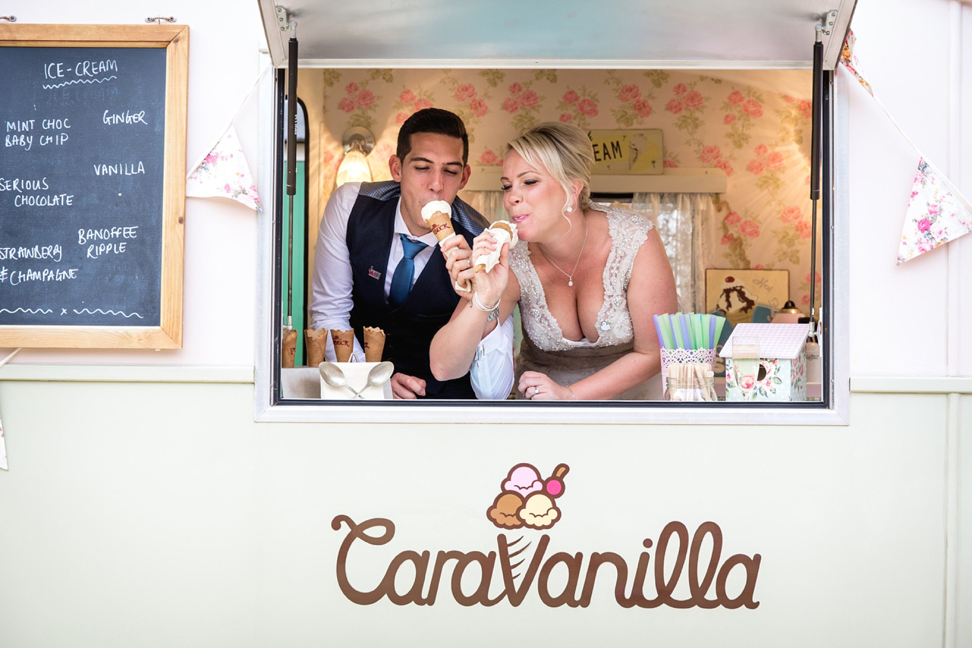 Bignor Park wedding photography ice cream van portrait