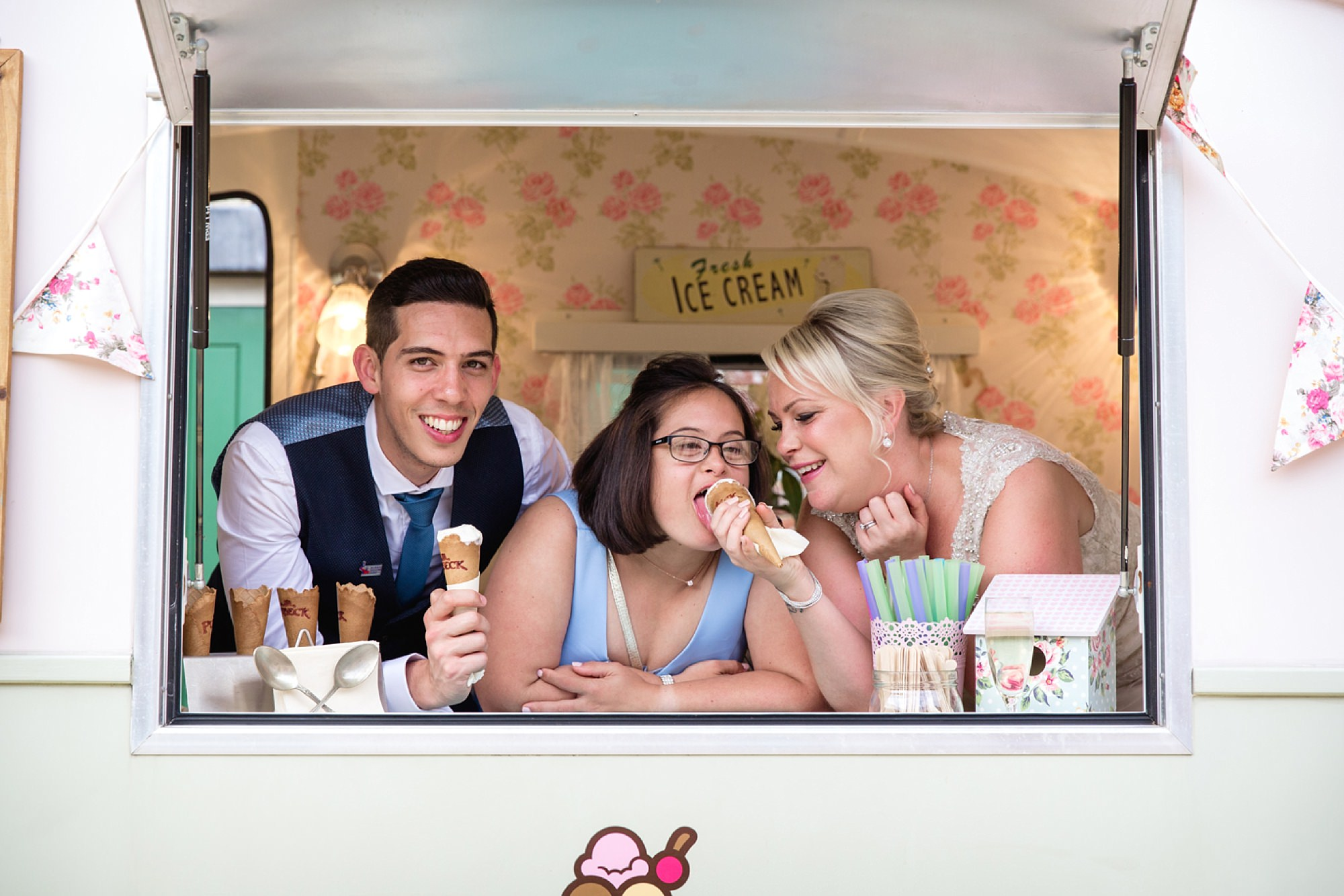 Bignor Park wedding photography bride groom and bridesmaid with ice cream van