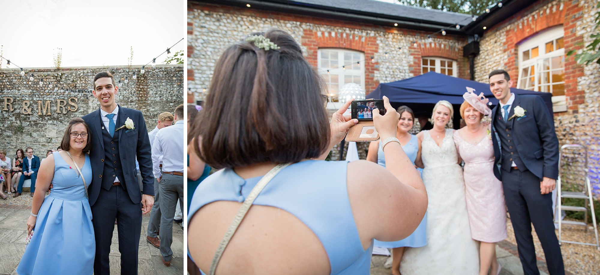 Bignor Park wedding photography bridesmaid taking picture
