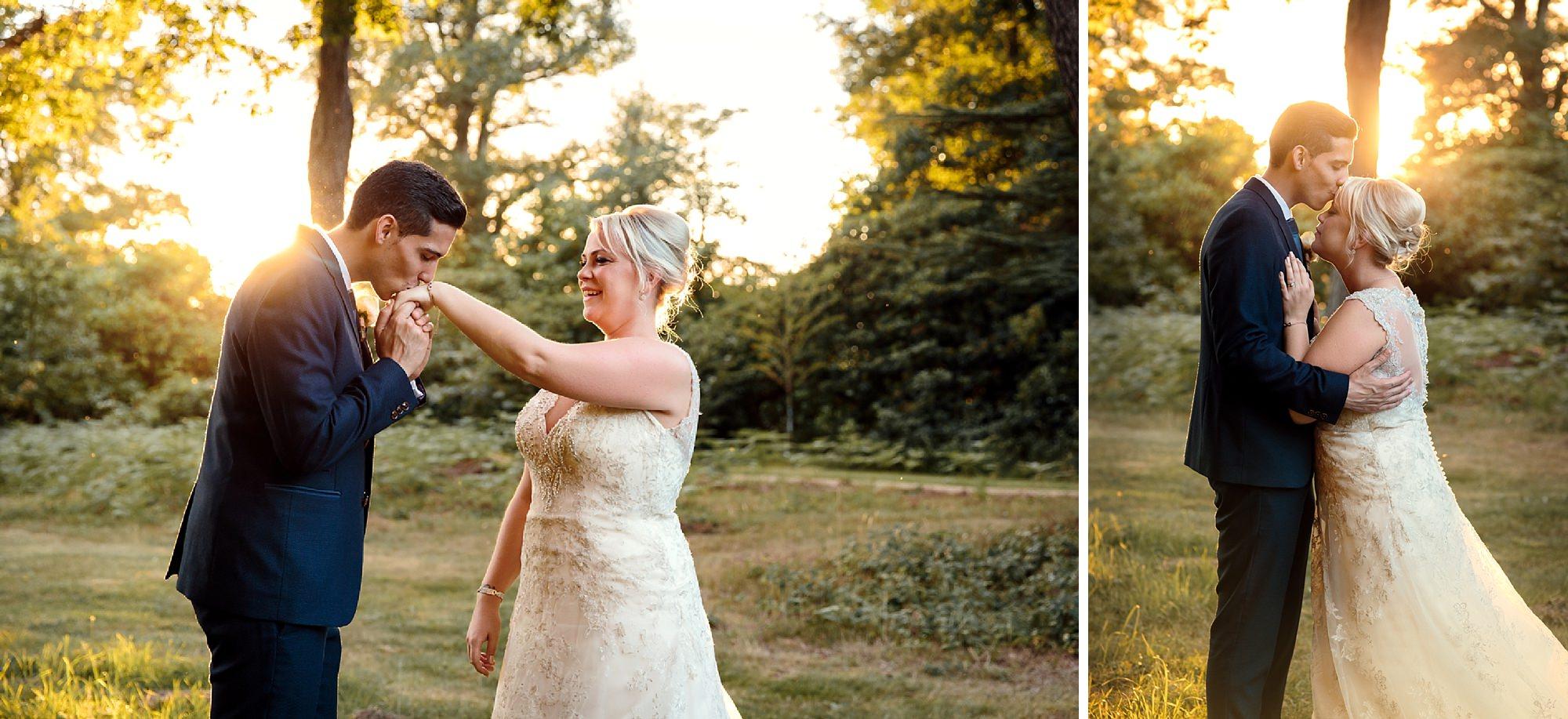 Bignor Park wedding photography sunset portrait of bride and groom
