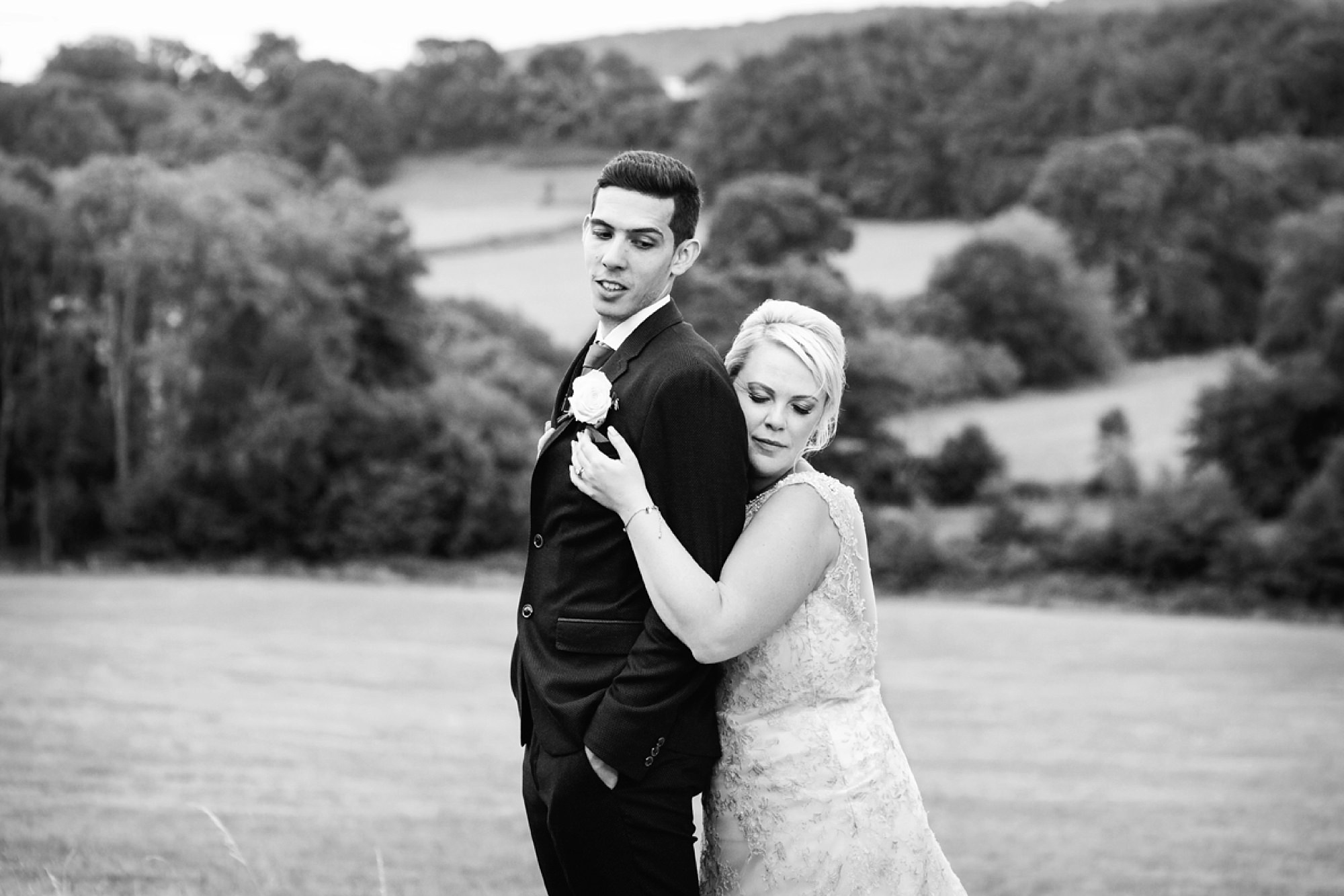 Bignor Park wedding photography bride and groom with south downs view