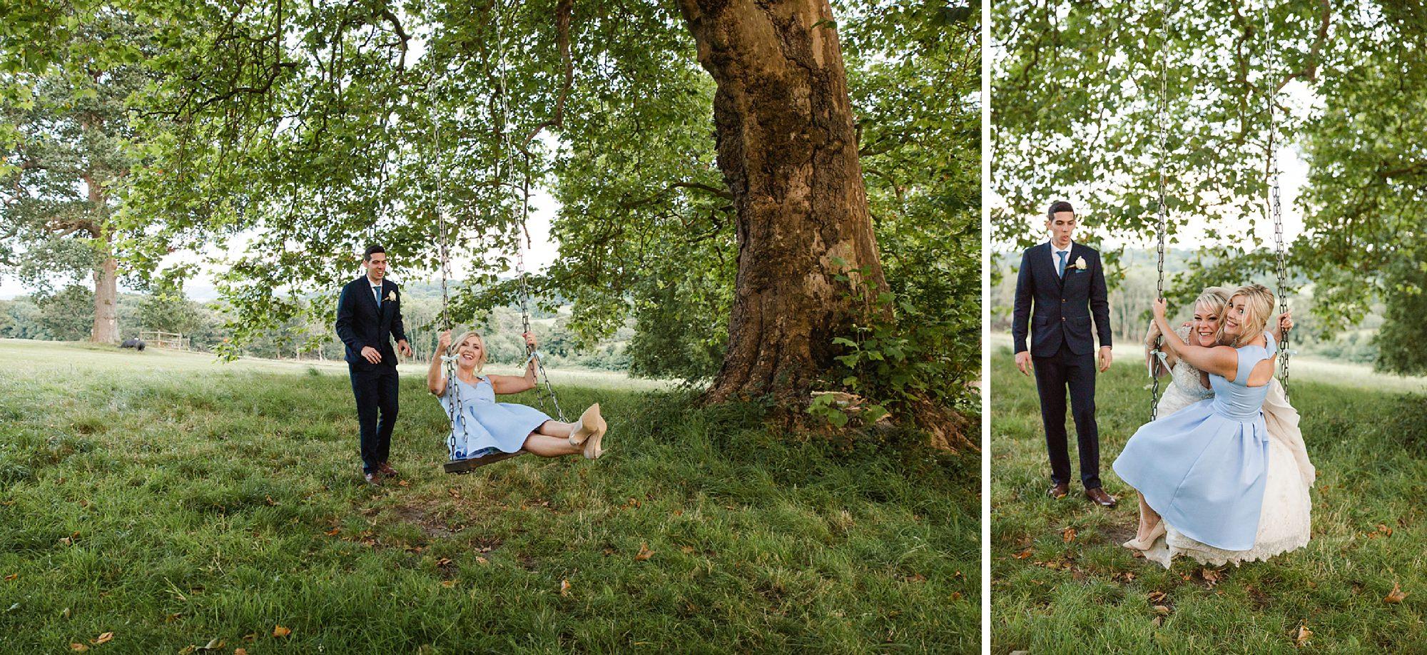 Bignor Park wedding photography bridesmaid on swing