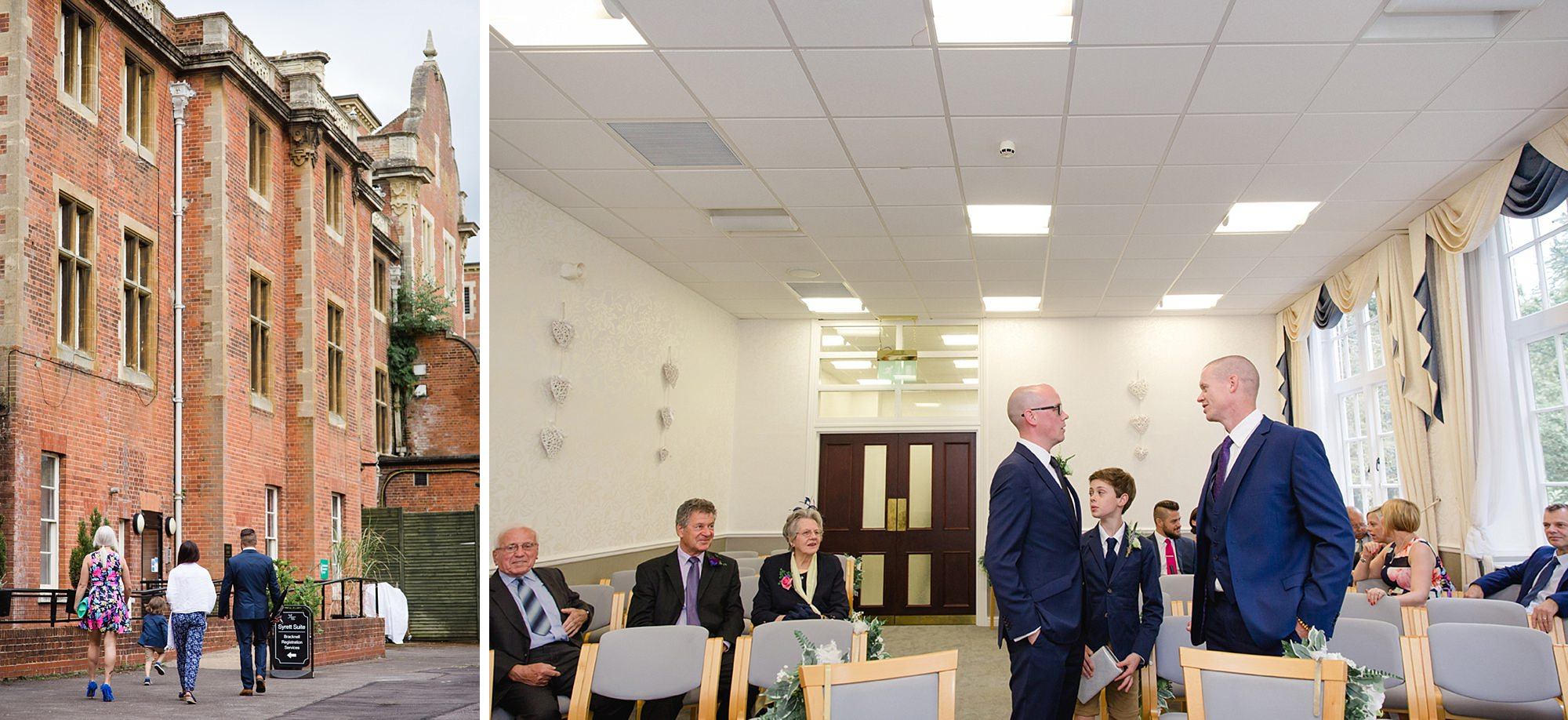 Mill House hotel wedding photography groom waiting at ceremony