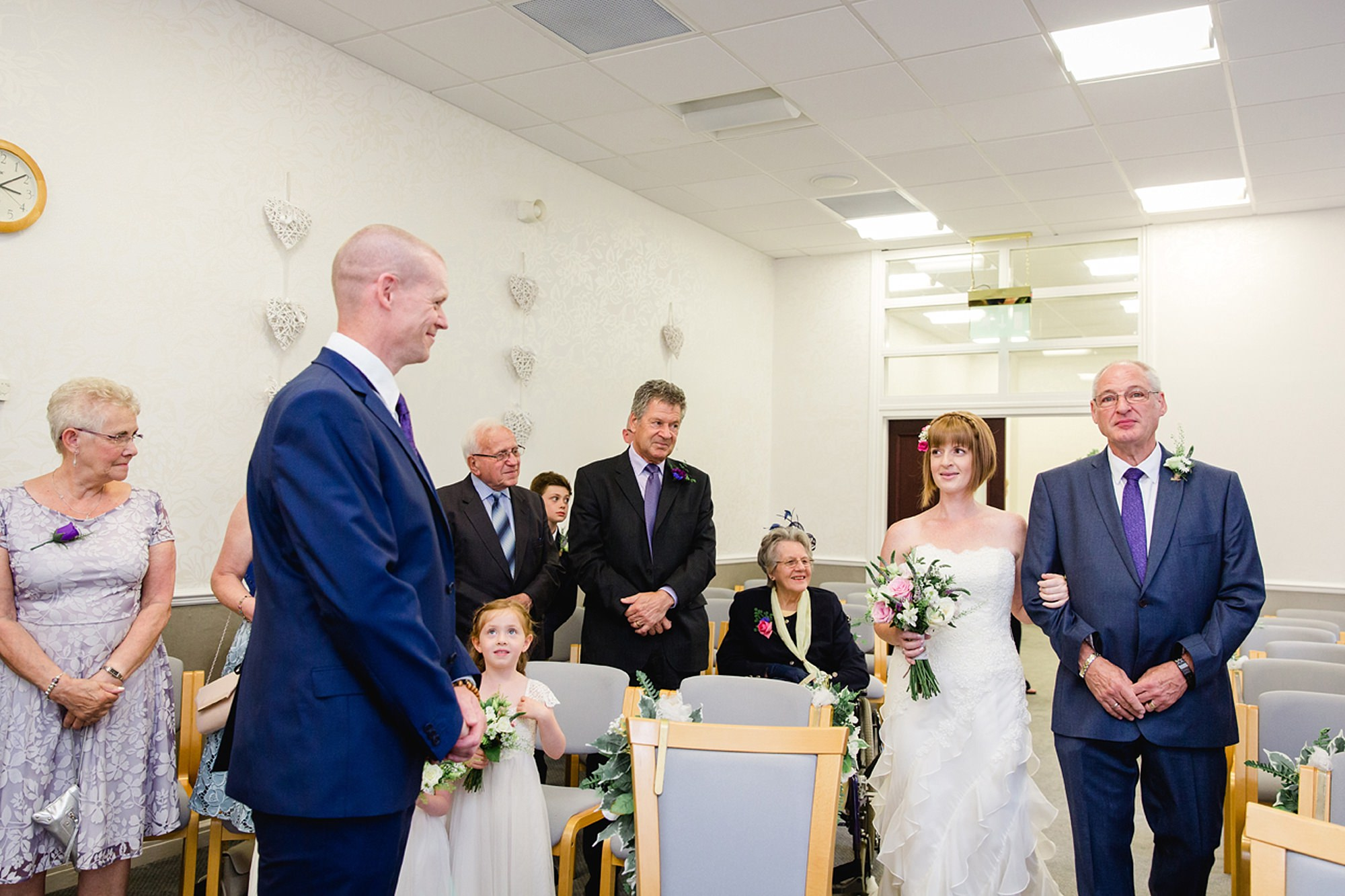 Mill House hotel wedding photography bride walking down aisle