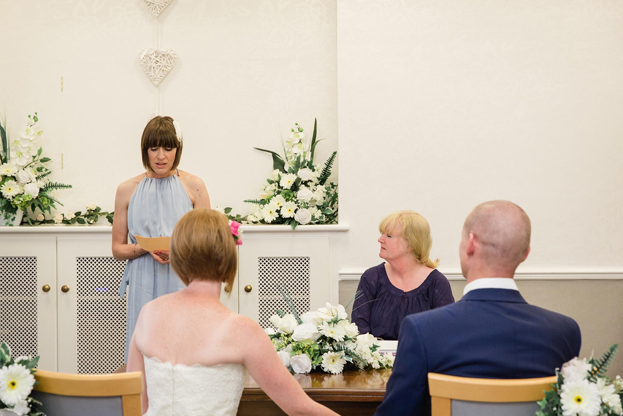 Mill House hotel wedding photography ceremony reading