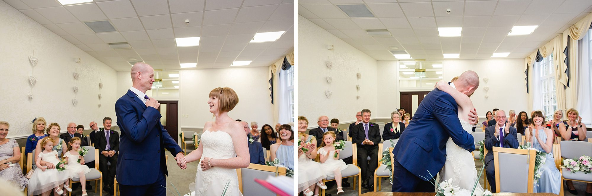 Mill House hotel wedding photography first kiss