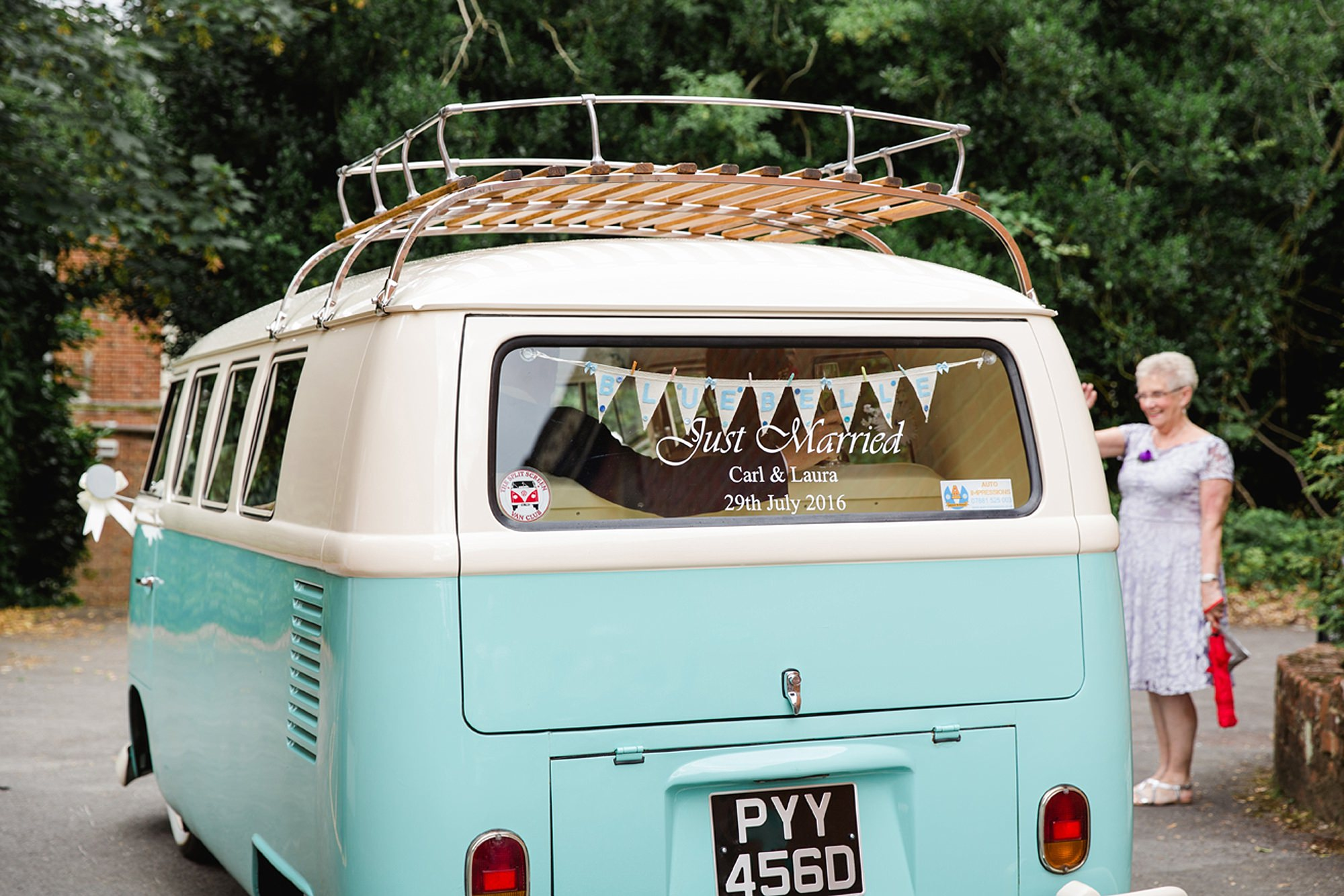 Mill House hotel wedding photography just married camper van