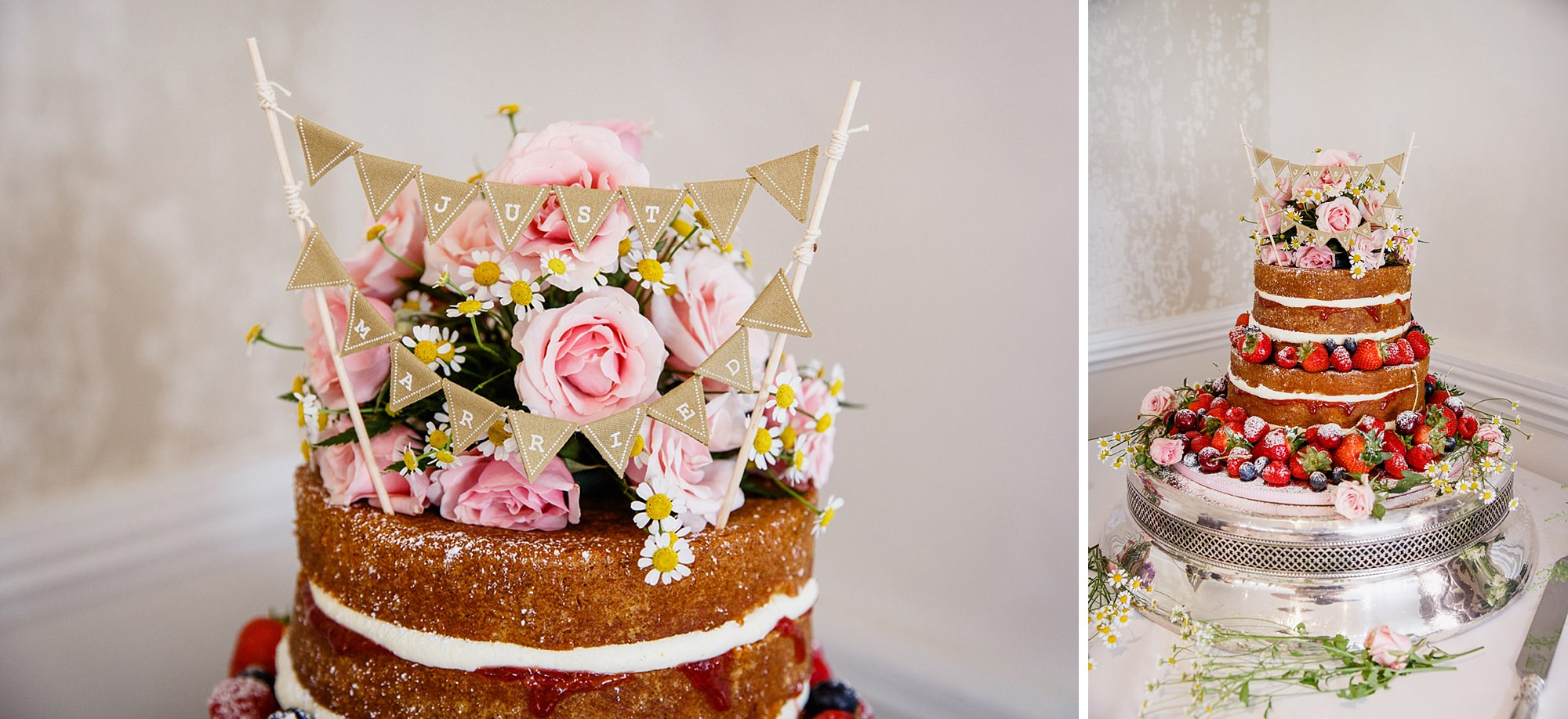 portrait of bride and groom kissing in the gardens at mill house hotel wedding naked wedding cake