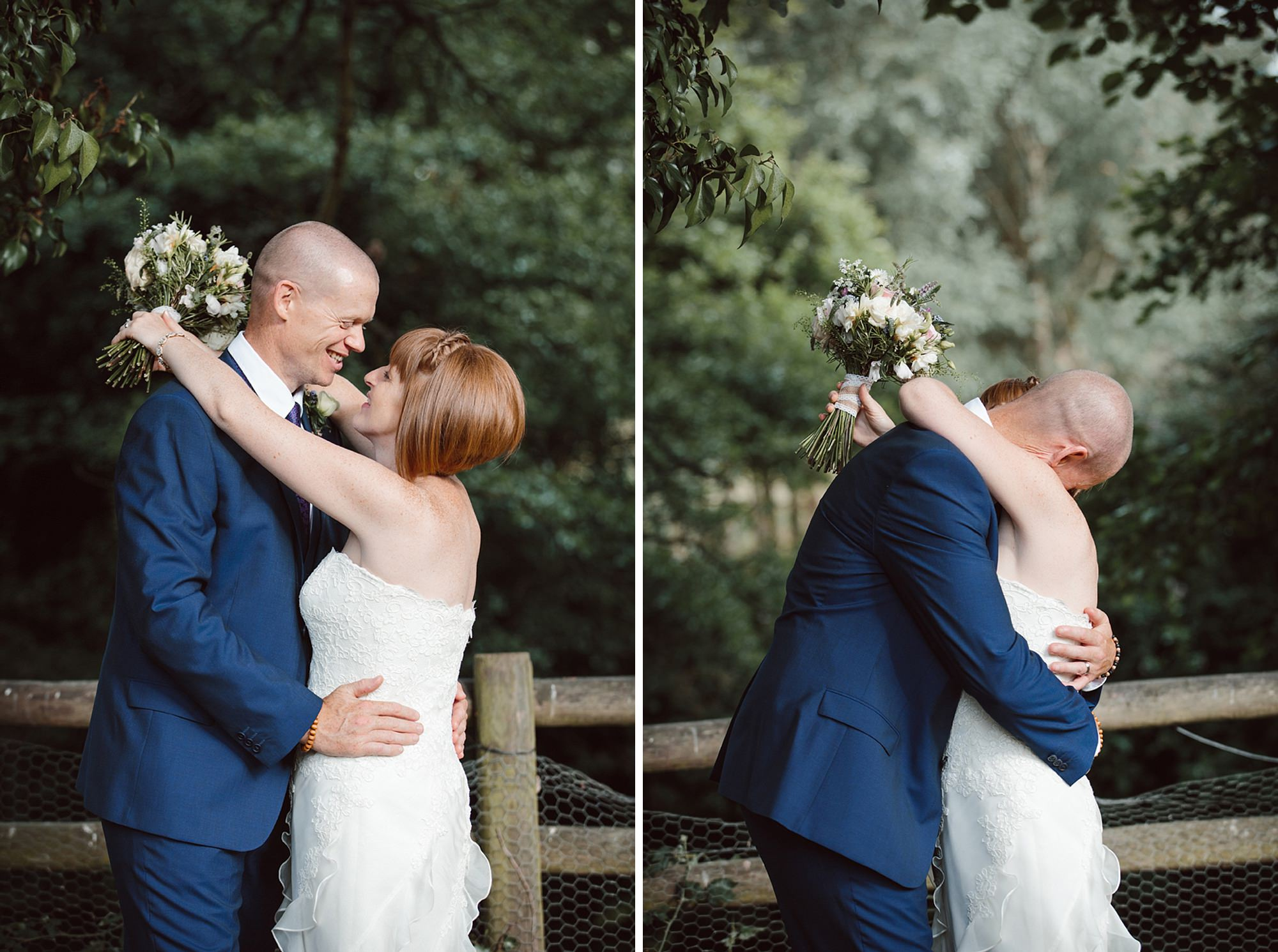 Mill House hotel wedding photography bride and groom hug