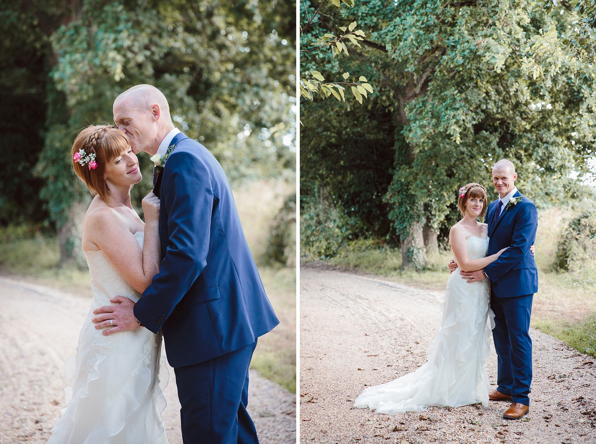 portrait of bride and groom kissing in the gardens at mill house hotel wedding groom and bride portrait