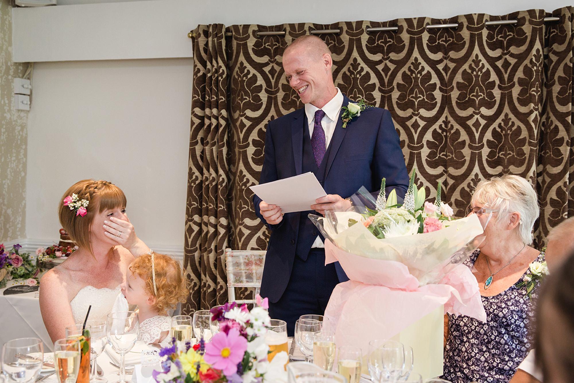 Mill House hotel wedding photography groom giving speech