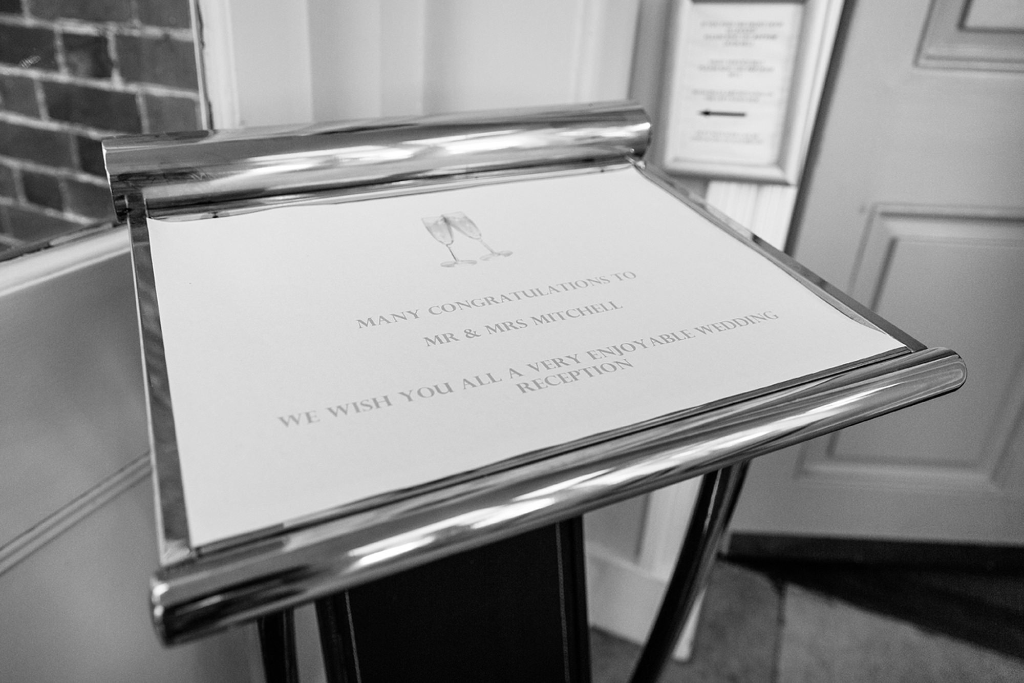 Mill House hotel wedding photography welcome board