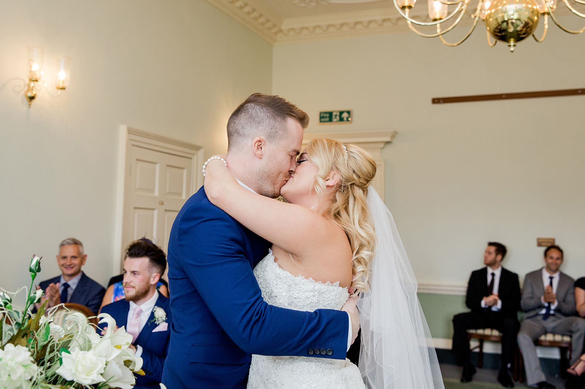 Old Greens Barn Newdigate wedding photography first kiss