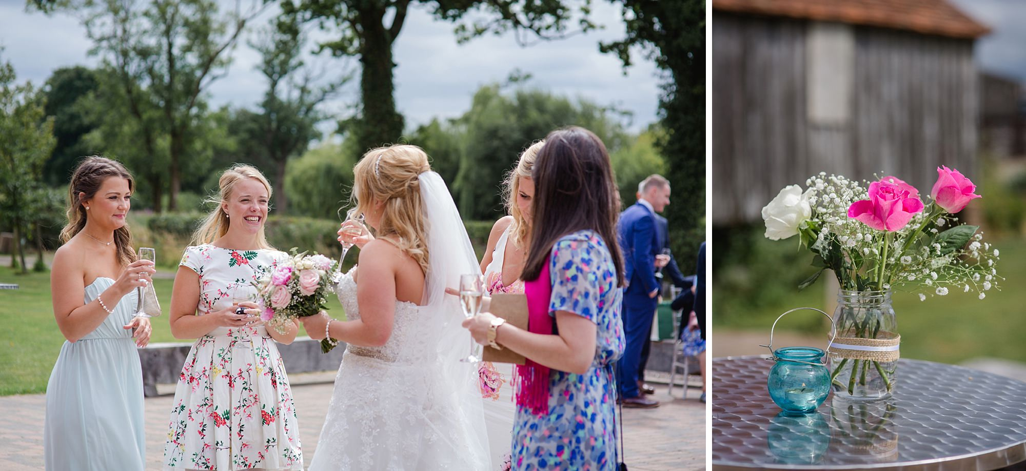 Old Greens Barn Newdigate wedding photography friends of bride