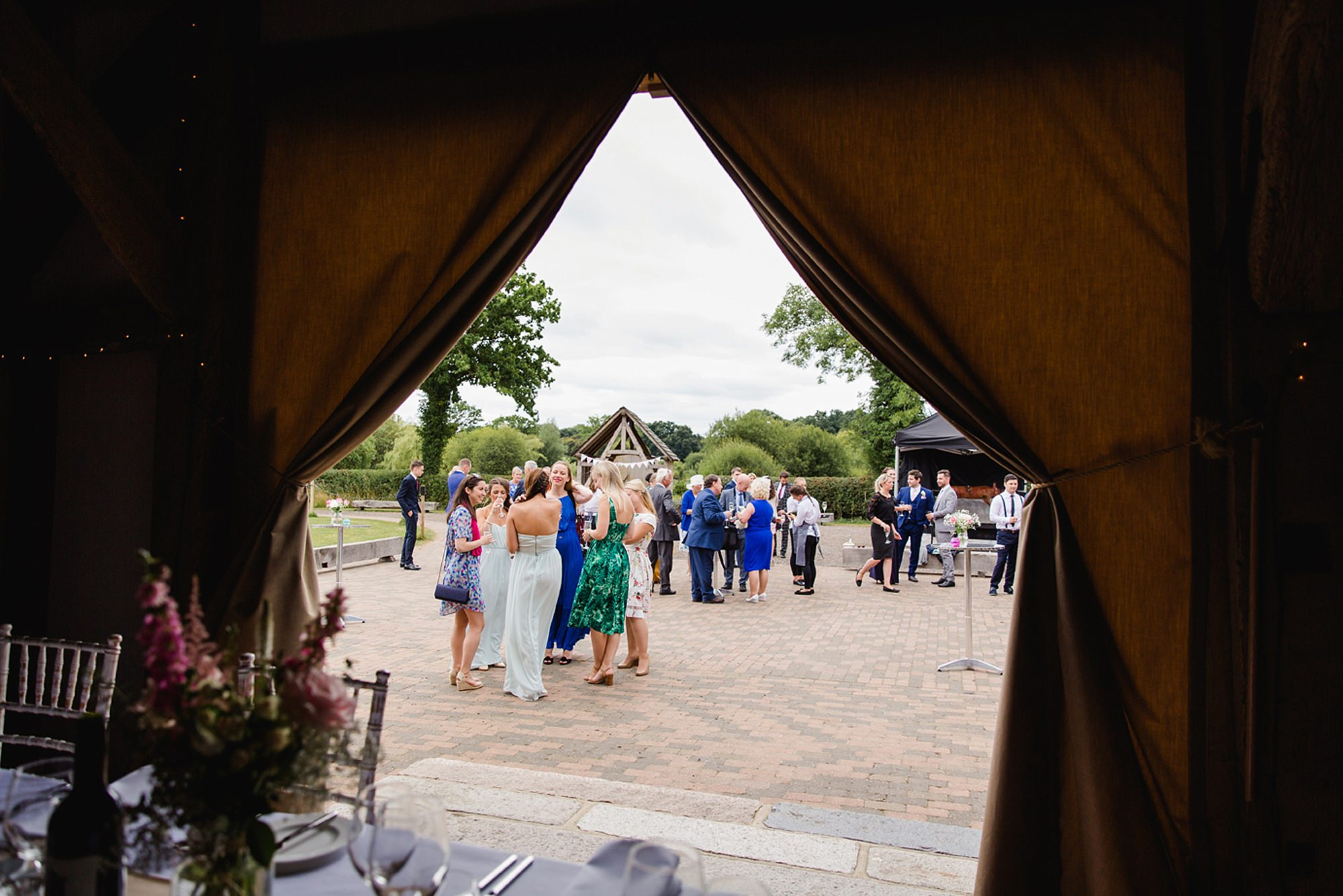 Old Greens Barn Newdigate wedding photography wedding guests together