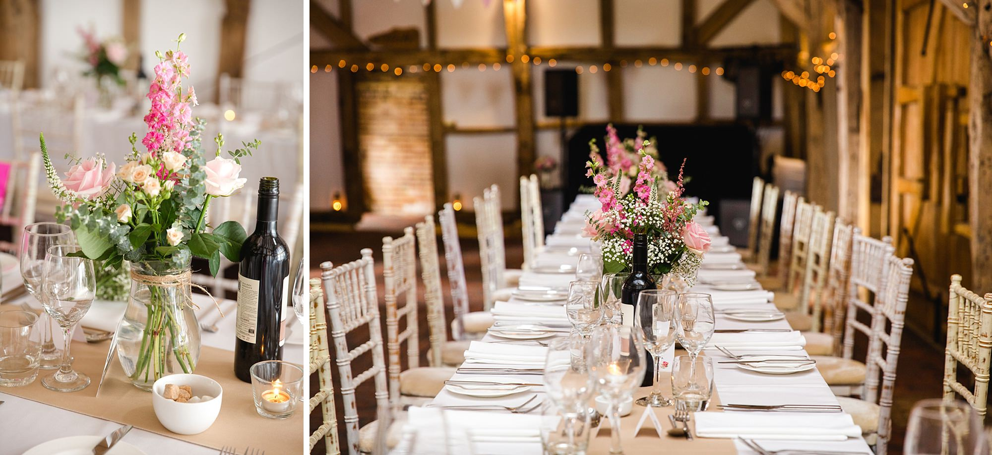 Old Greens Barn Newdigate wedding photography table decorations