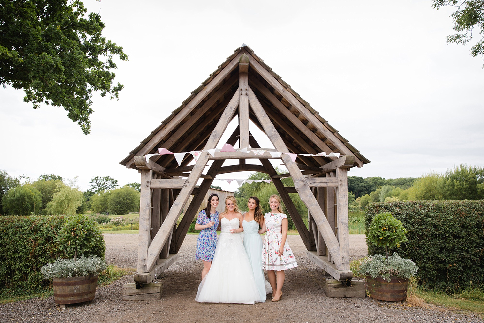 Old Greens Barn Newdigate wedding photography bride and friends