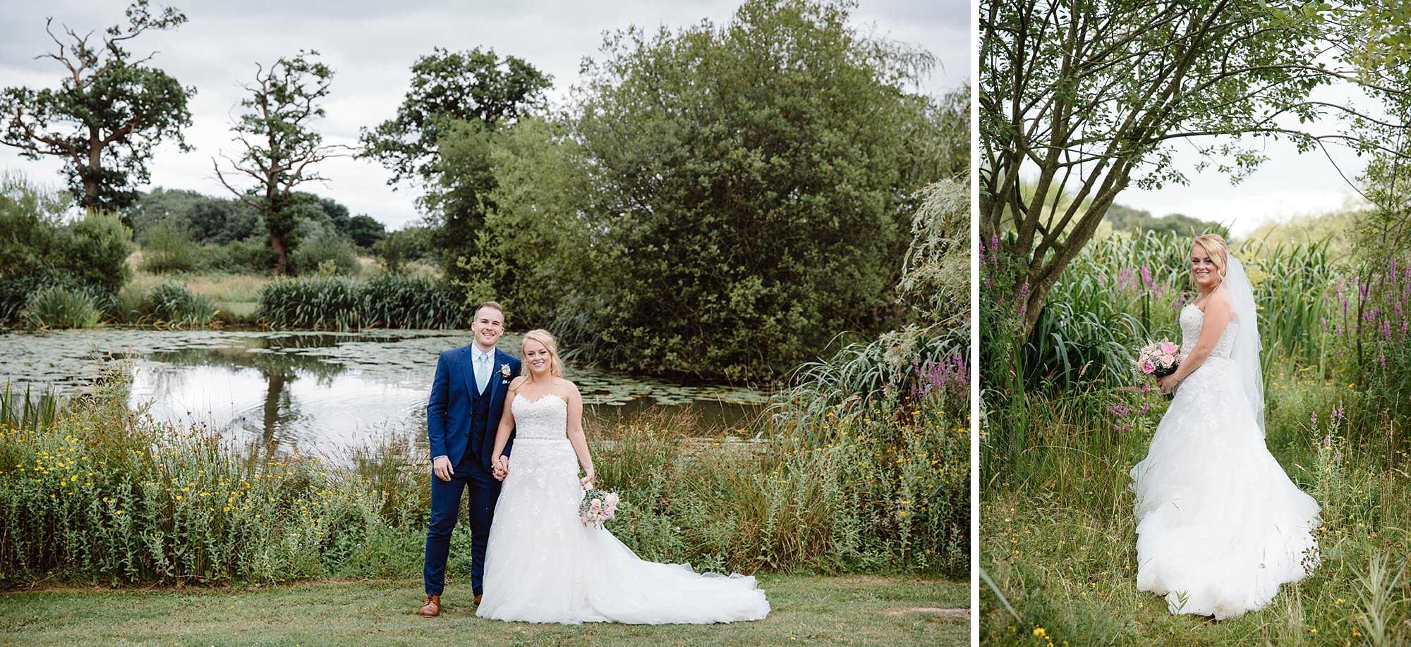 Old Greens Barn Newdigate wedding photography couple at lake