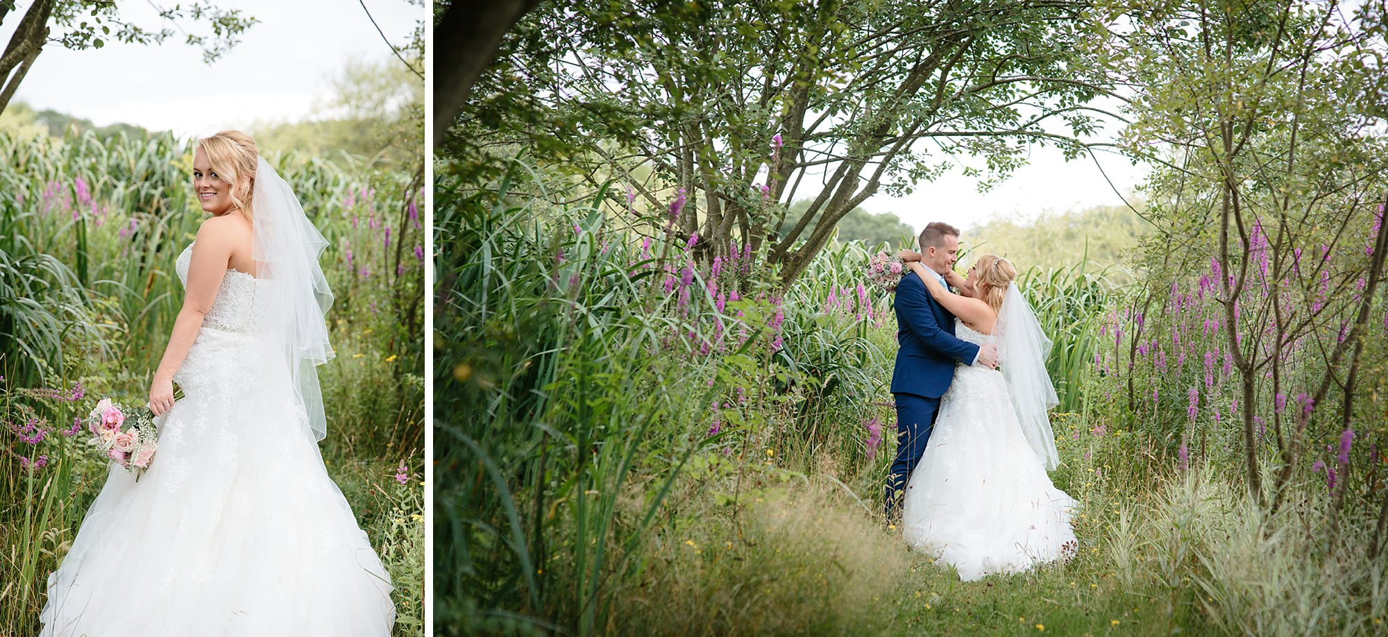 Old Greens Barn Newdigate wedding photography bride and groom in gardens