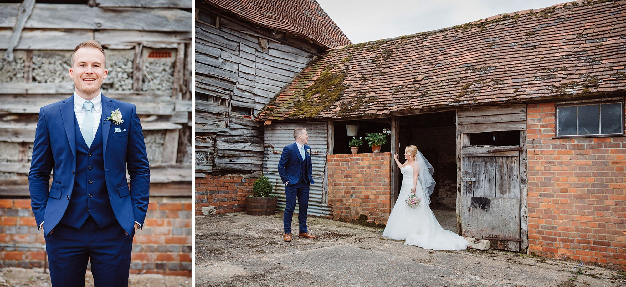 Old Greens Barn Newdigate wedding photography bride and groom together in barns