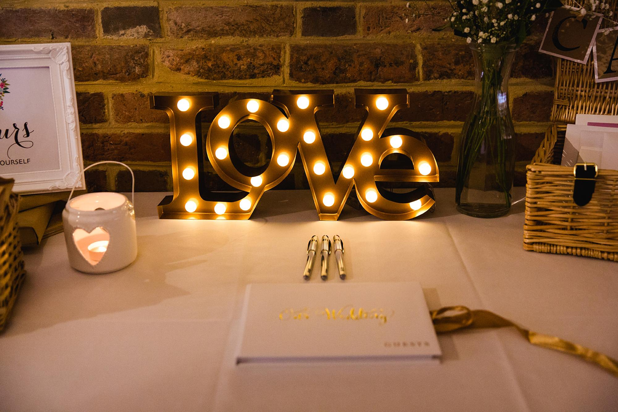 Old Greens Barn Newdigate wedding photography guest book